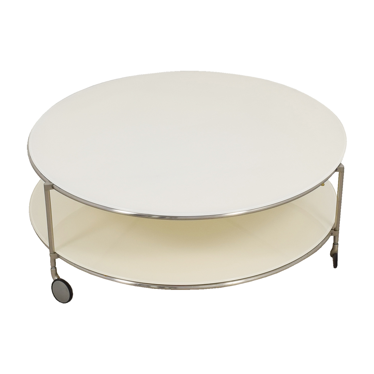 Crate & Barrel White Double Glass Cocktail Table on Castors sale