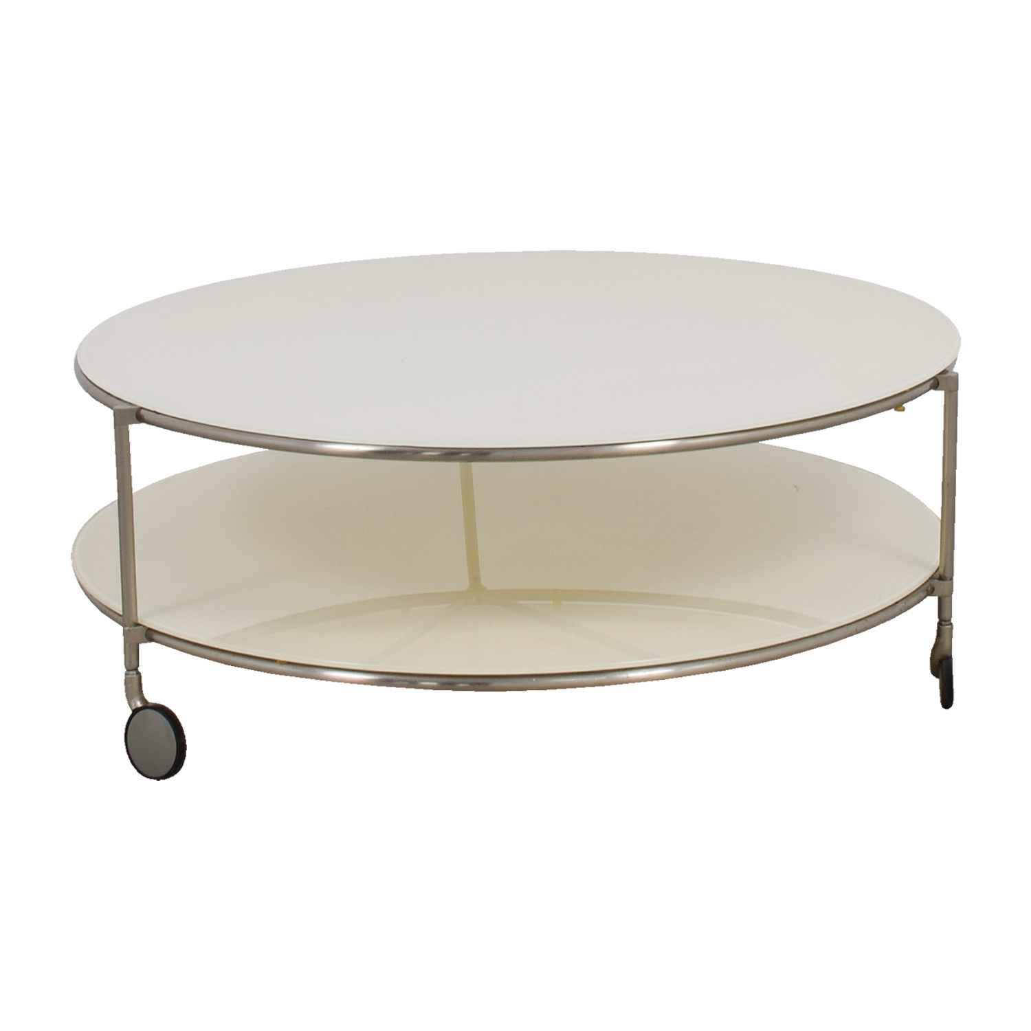 Crate & Barrel White Double Glass Cocktail Table on Castors / Coffee Tables