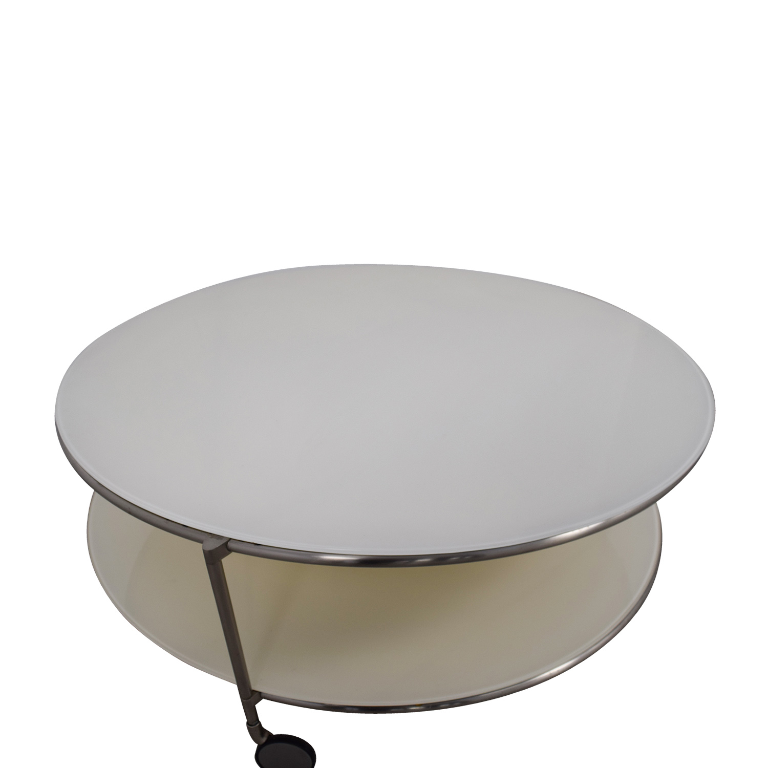 Crate & Barrel Crate & Barrel White Double Glass Cocktail Table on Castors used
