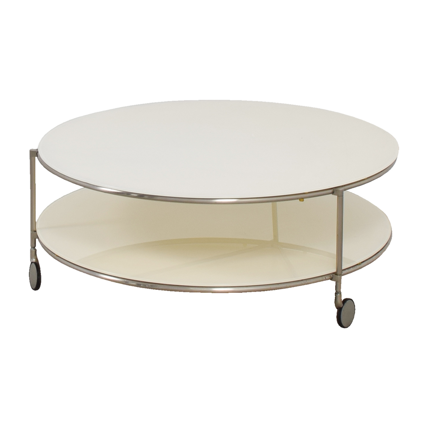 Crate & Barrel Crate & Barrel White Double Glass Cocktail Table on Castors price