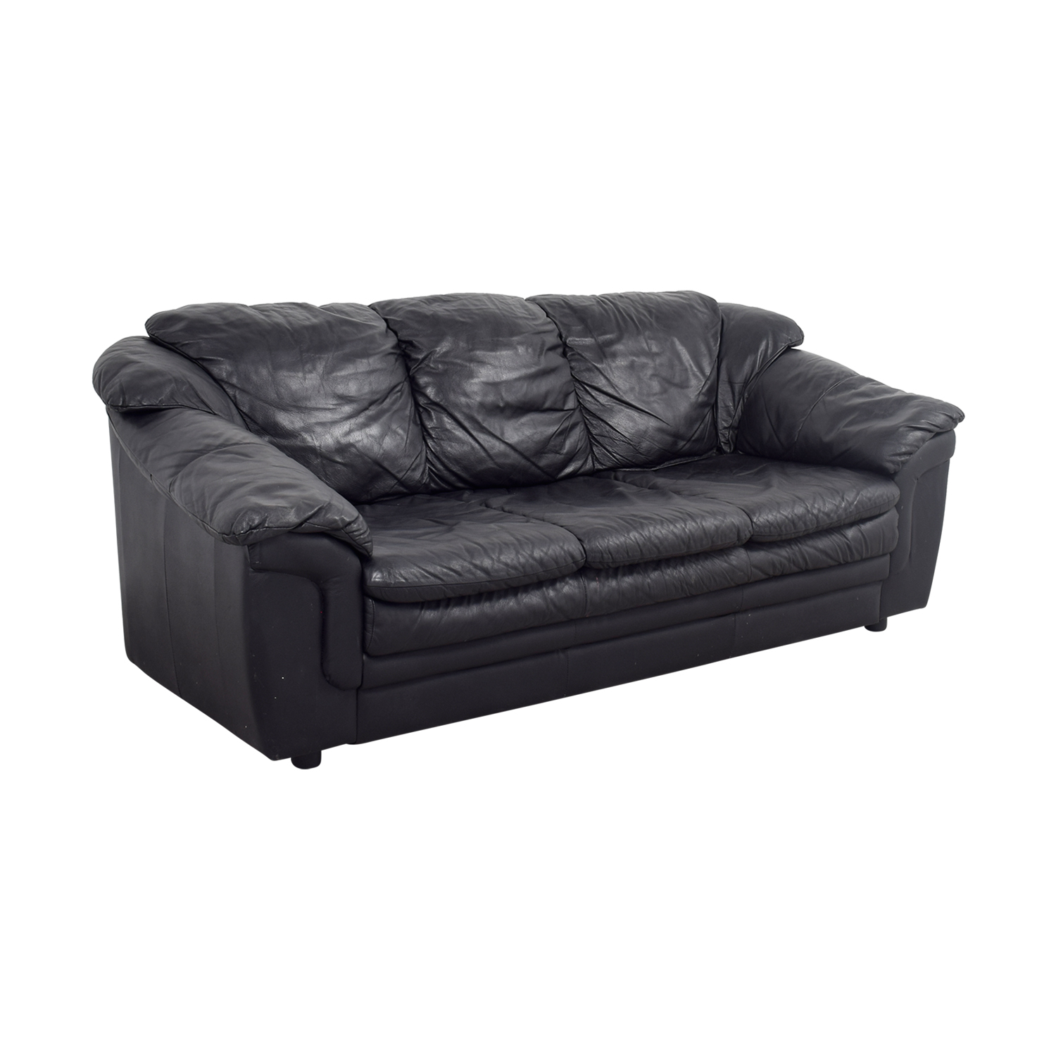 ... Jennifer Leather Jennifer Leather Black Italian Leather Sofa Second  Hand ...