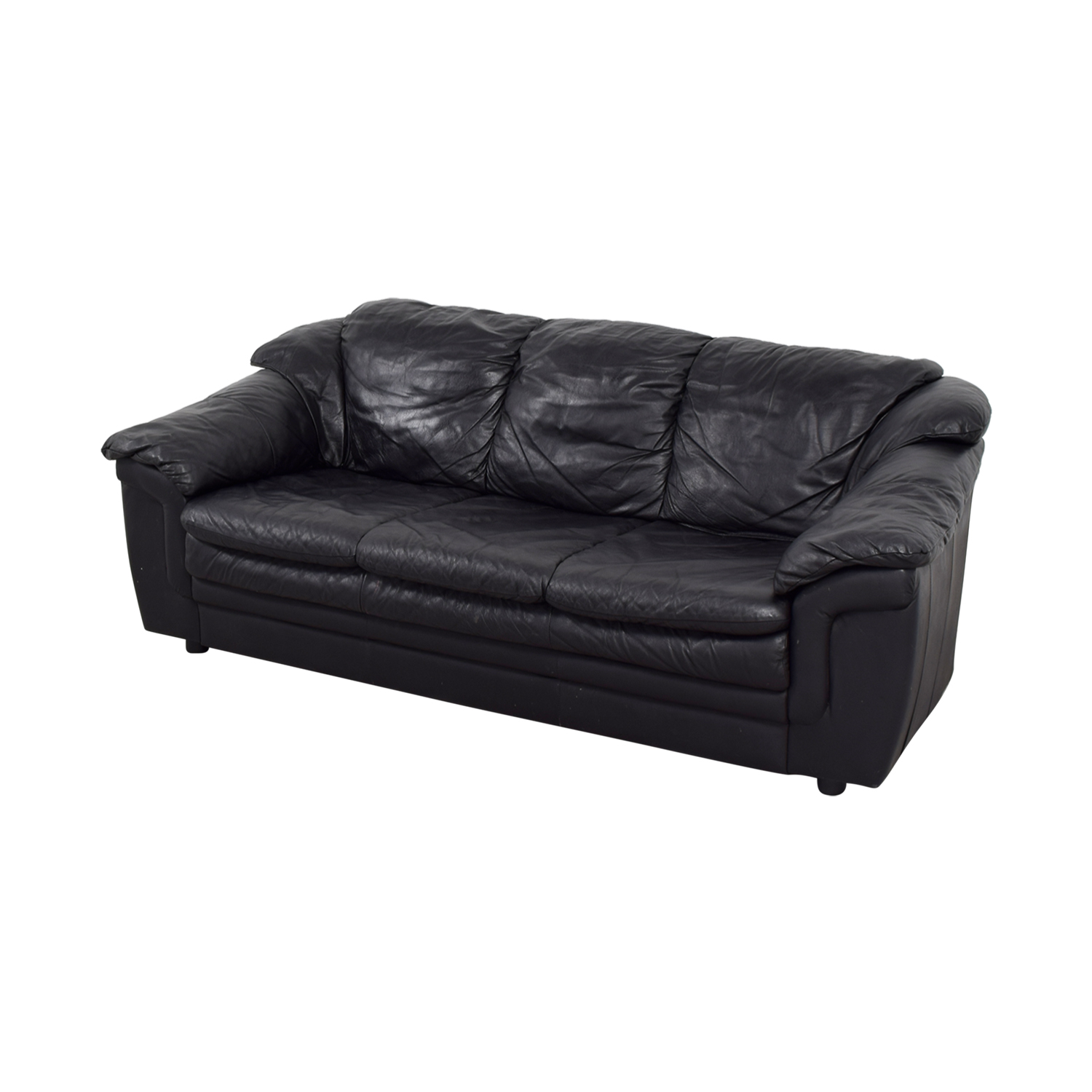77% OFF - Jennifer Furniture Jennifer Leather Black Italian Leather Sofa /  Sofas