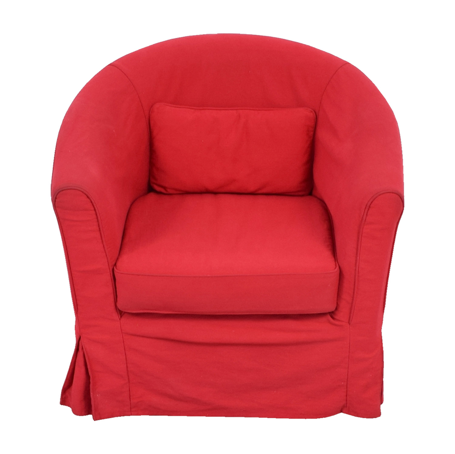 Crate & Barrel Red Upholstered Chair with Removable Cover / Chairs