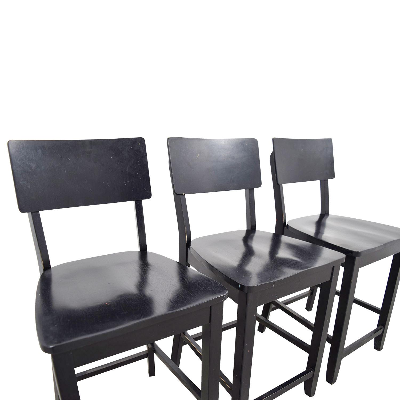 79 Off Crate Barrel Crate Barrel Black Wood Bar Stools Chairs