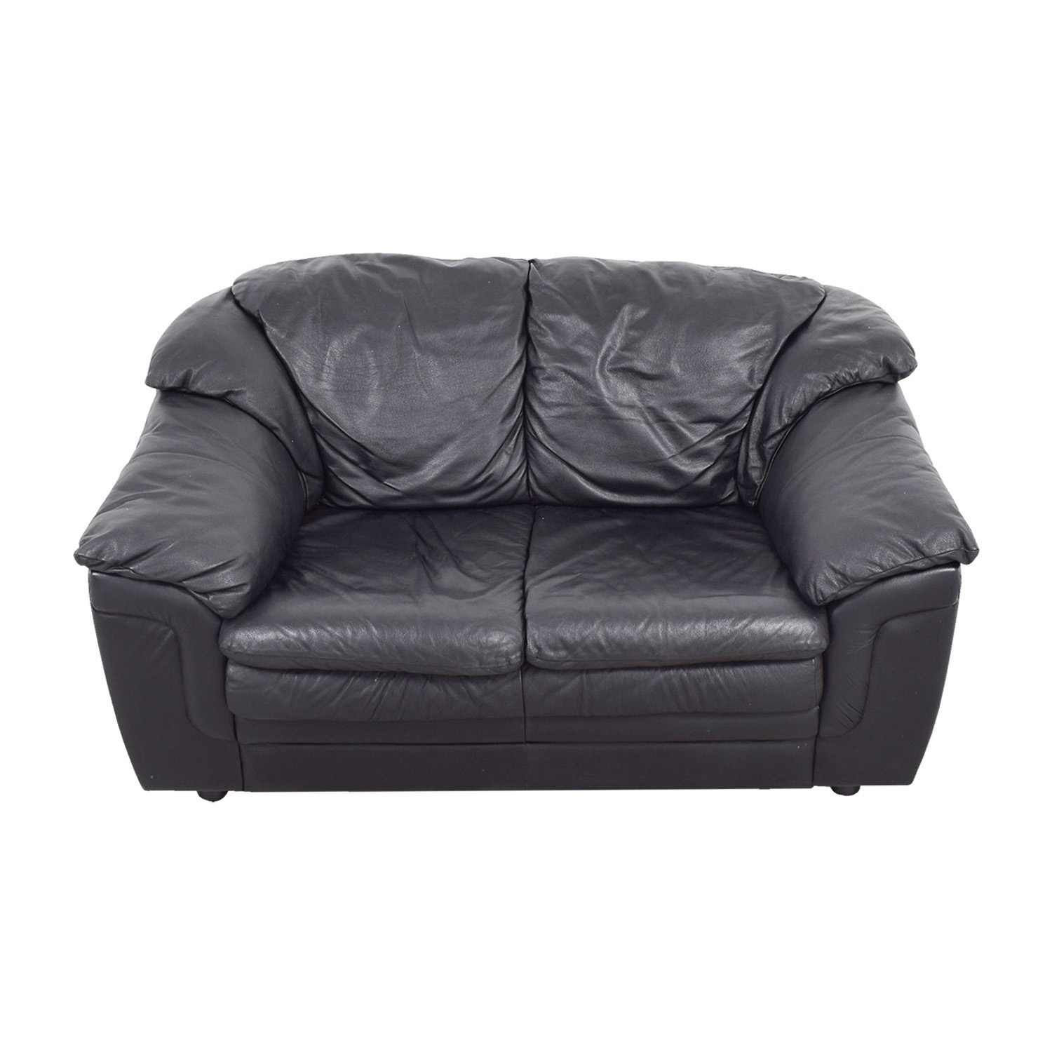 Jennifer Leather Black Italian Leather Love Seat / Sofas