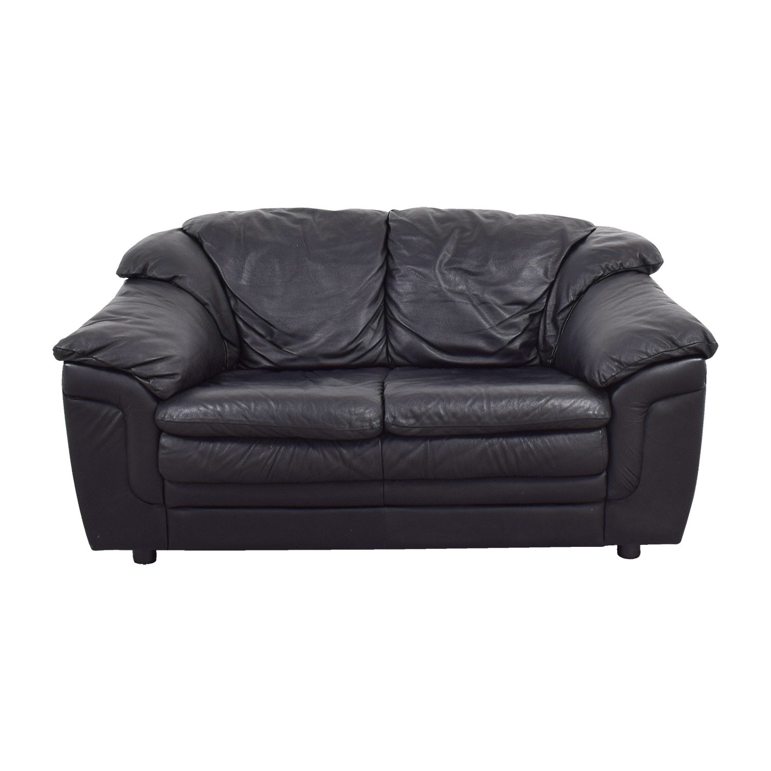 shop Jennifer Leather Black Italian Leather Love Seat Jennifer Leather