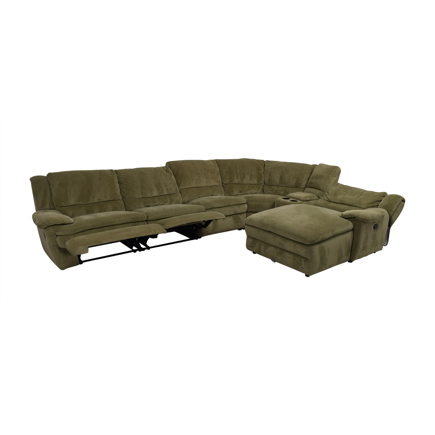 ... Bobu0027s Furniture Grey L Shaped Reclining Sectional / Sectionals ...