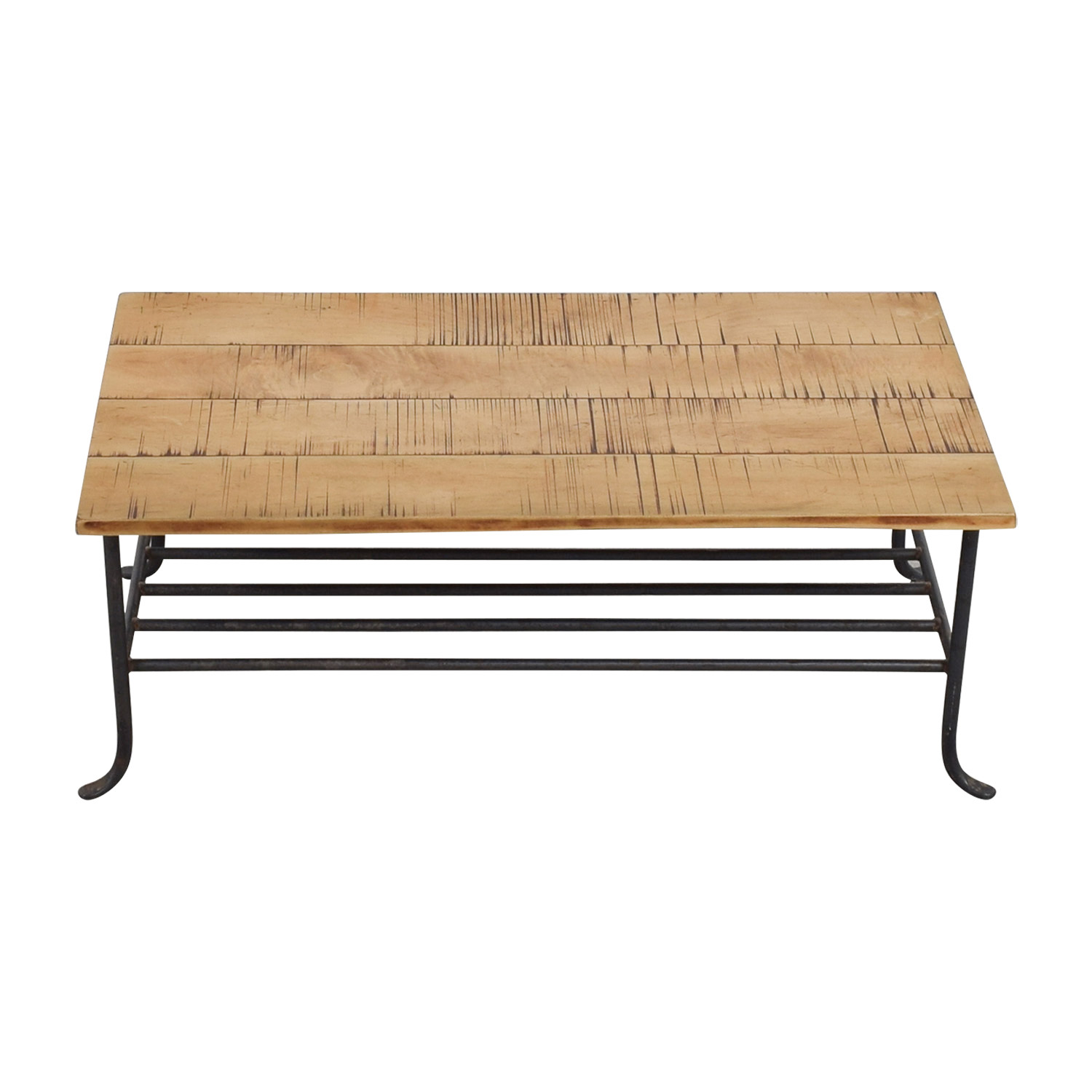 Rustic Wrought Iron and Wood Coffee Table