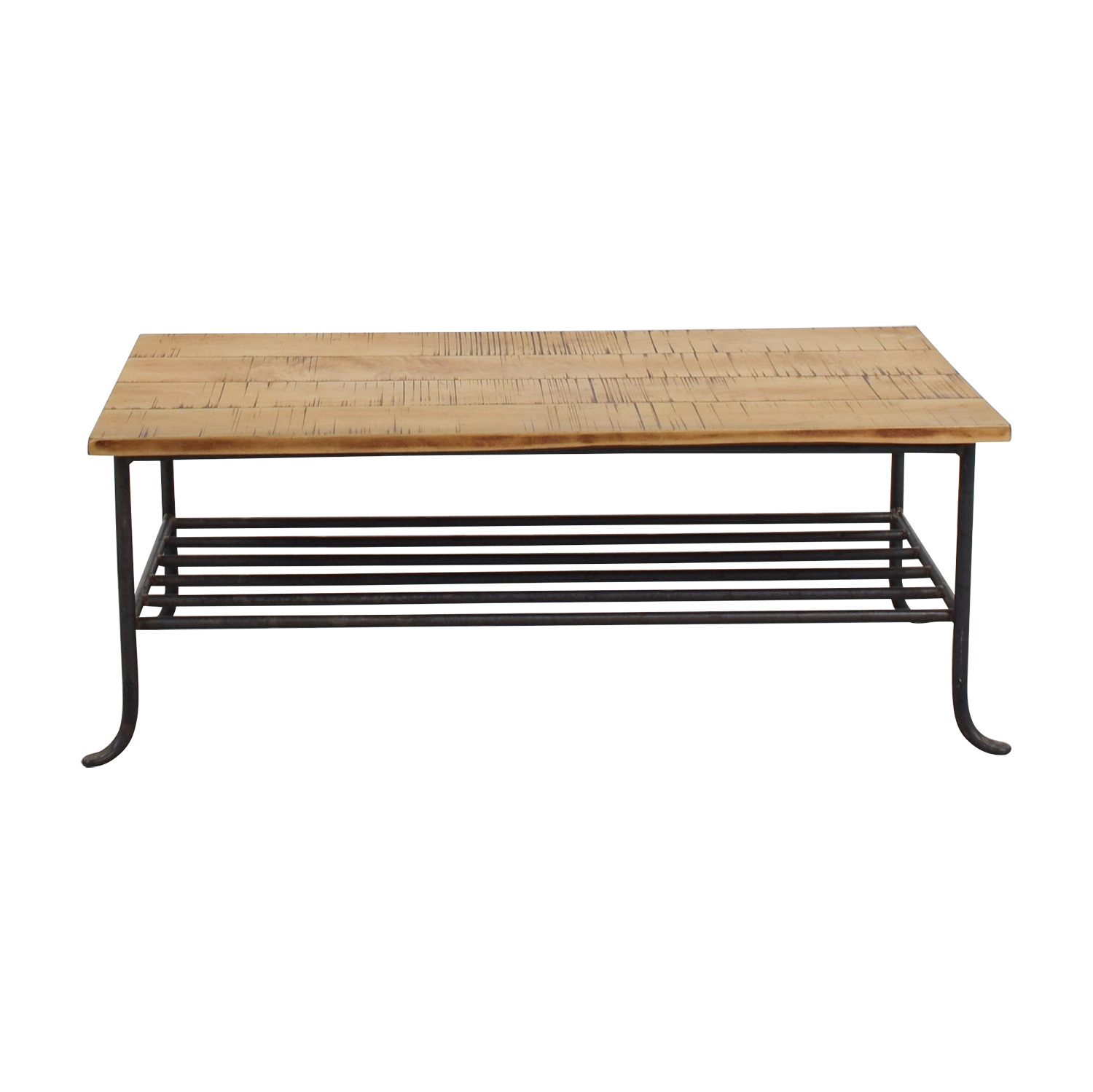 56 Off Rustic Wrought Iron And Wood Coffee Table Tables