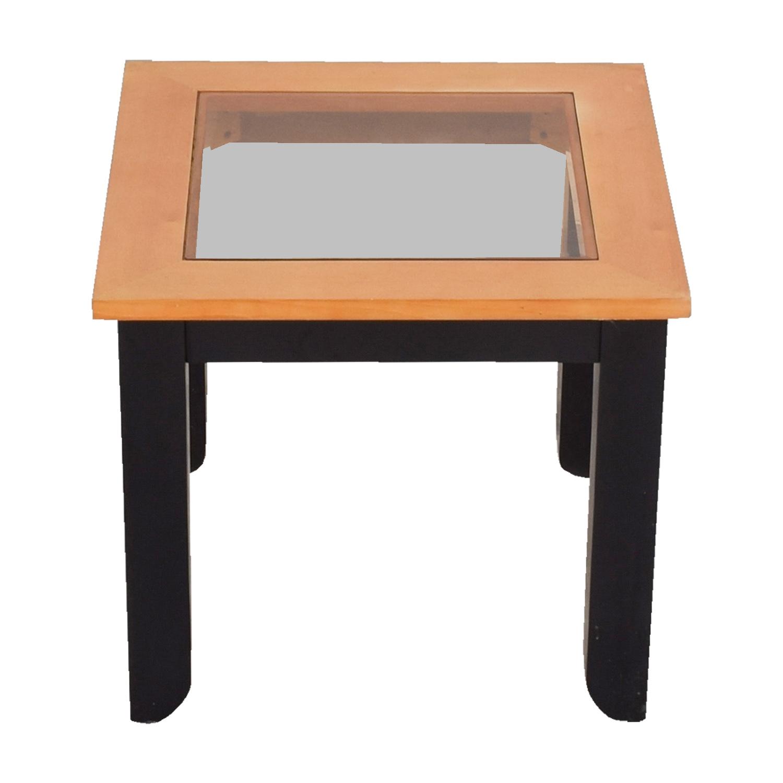 Smoke Glass and Wood End Table