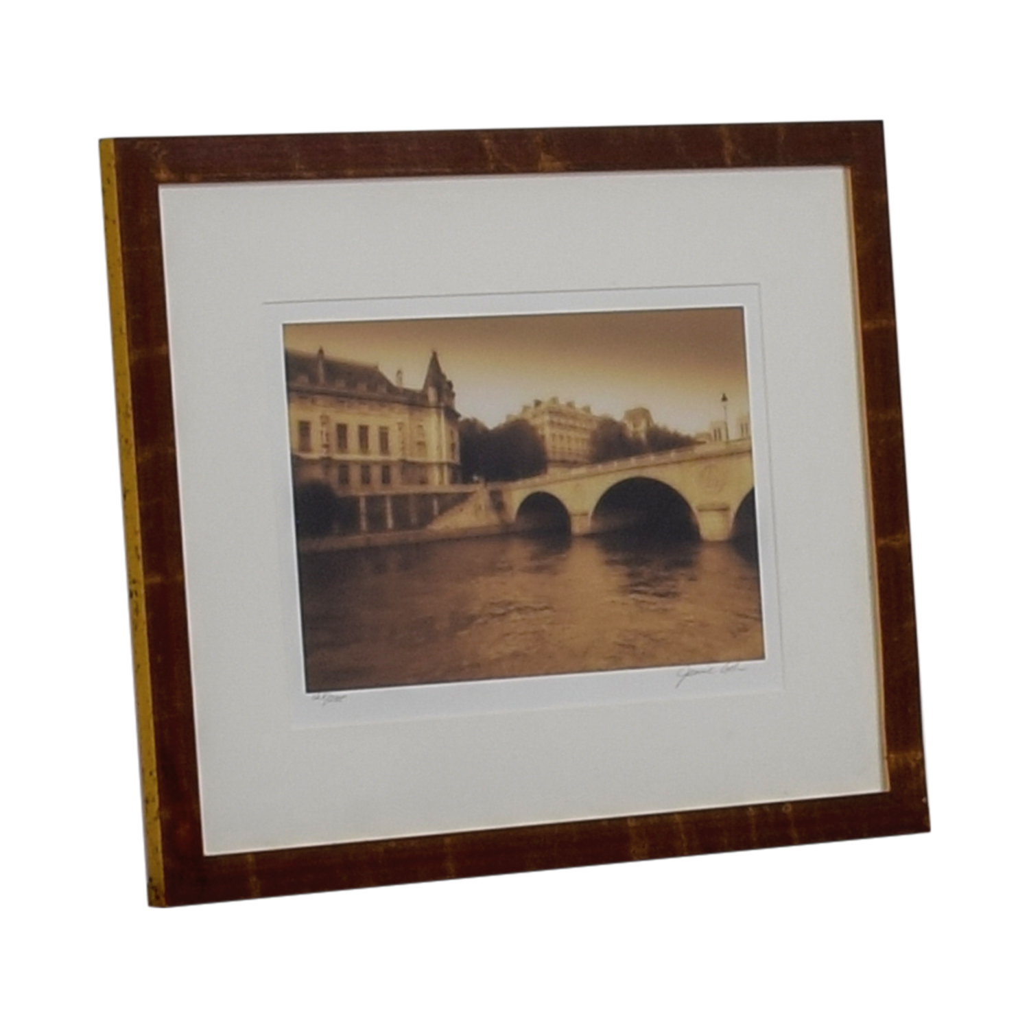 European Scenic Bridge Scene Framed Artwork White/Brown