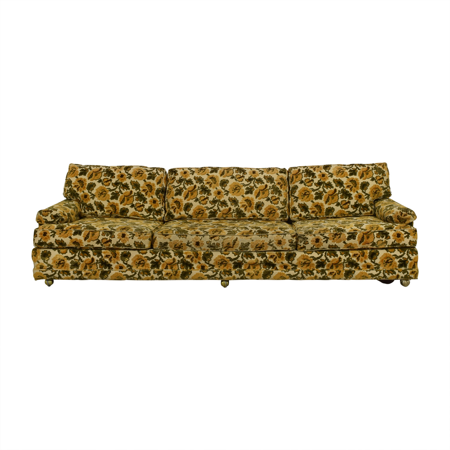 Karpen Furniture Karpen Furniture Mid-Century Yellow Floral Three-Cushion Sofa Sofas