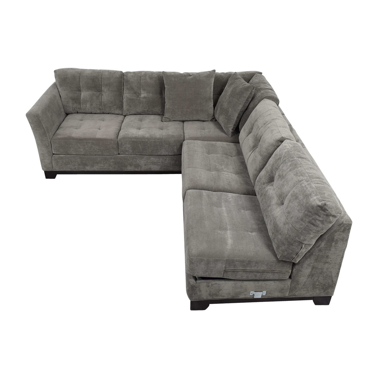 Macy's Macy's Gypsy Grey L-Shaped Sleeper Sectional dimensions