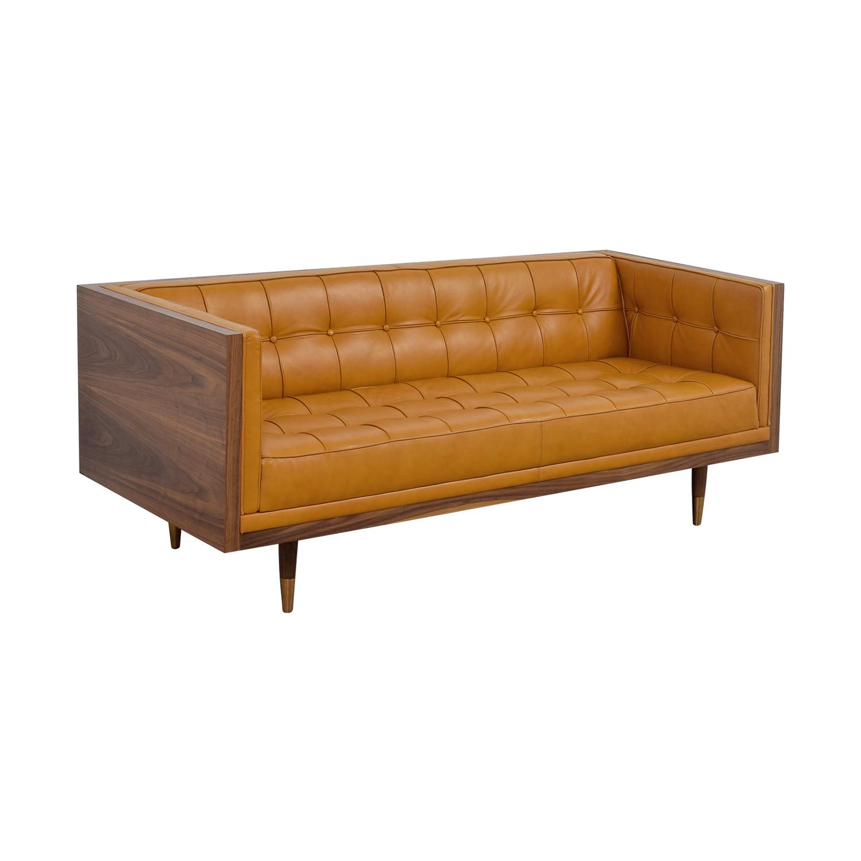 Well-known 64% OFF - Kardiel Kardiel Woodrow Tan Leather Box Loveseat / Sofas PG52