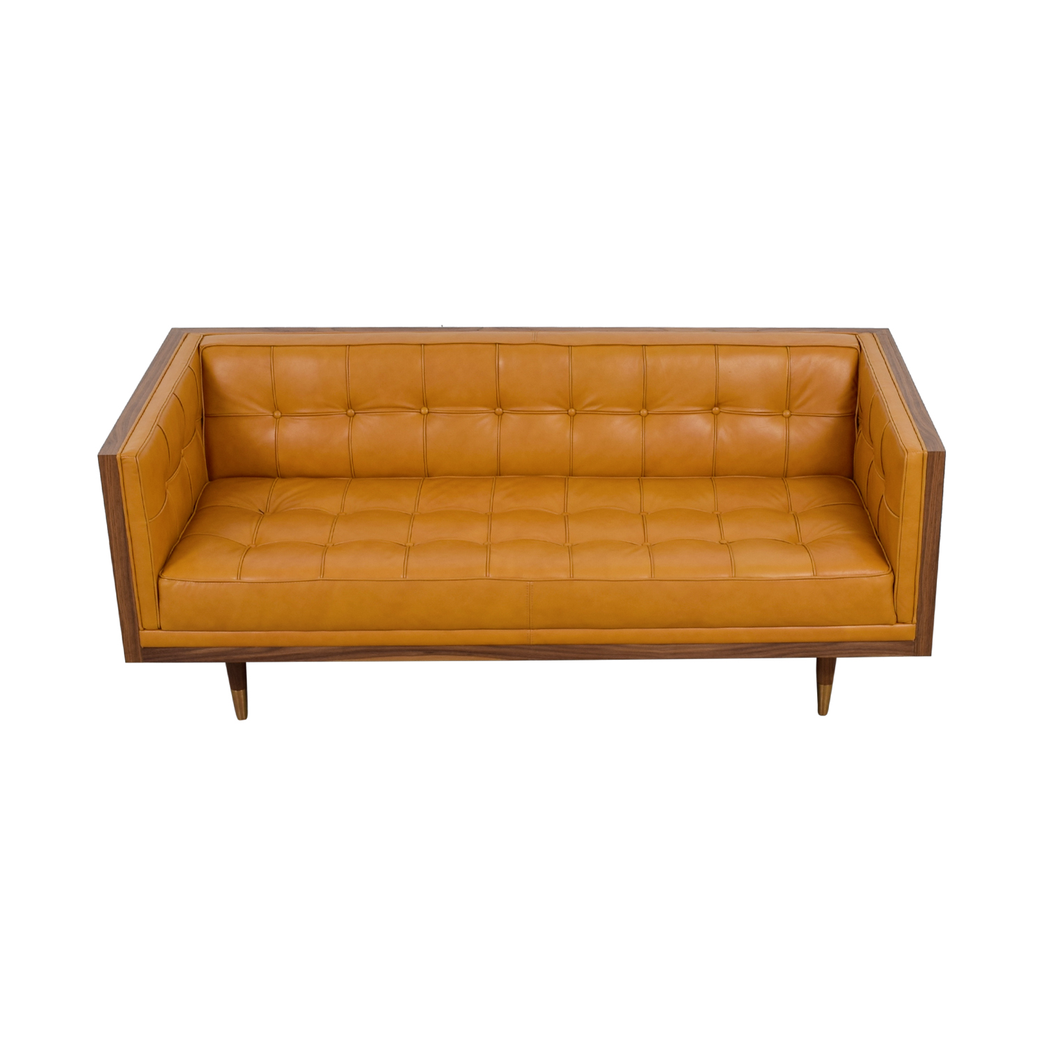 ... Kardiel Kardiel Woodrow Tan Leather Box Loveseat Classic Sofas ...