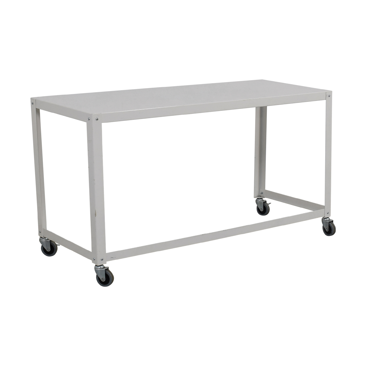 shop CB2 Go-Cart White Rolling Desk CB2 Utility Tables
