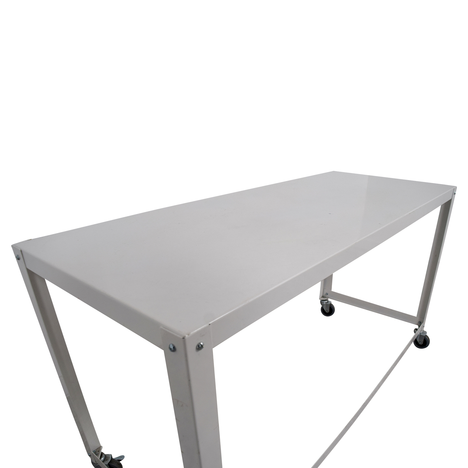CB2 CB2 Go-Cart White Rolling Desk Tables