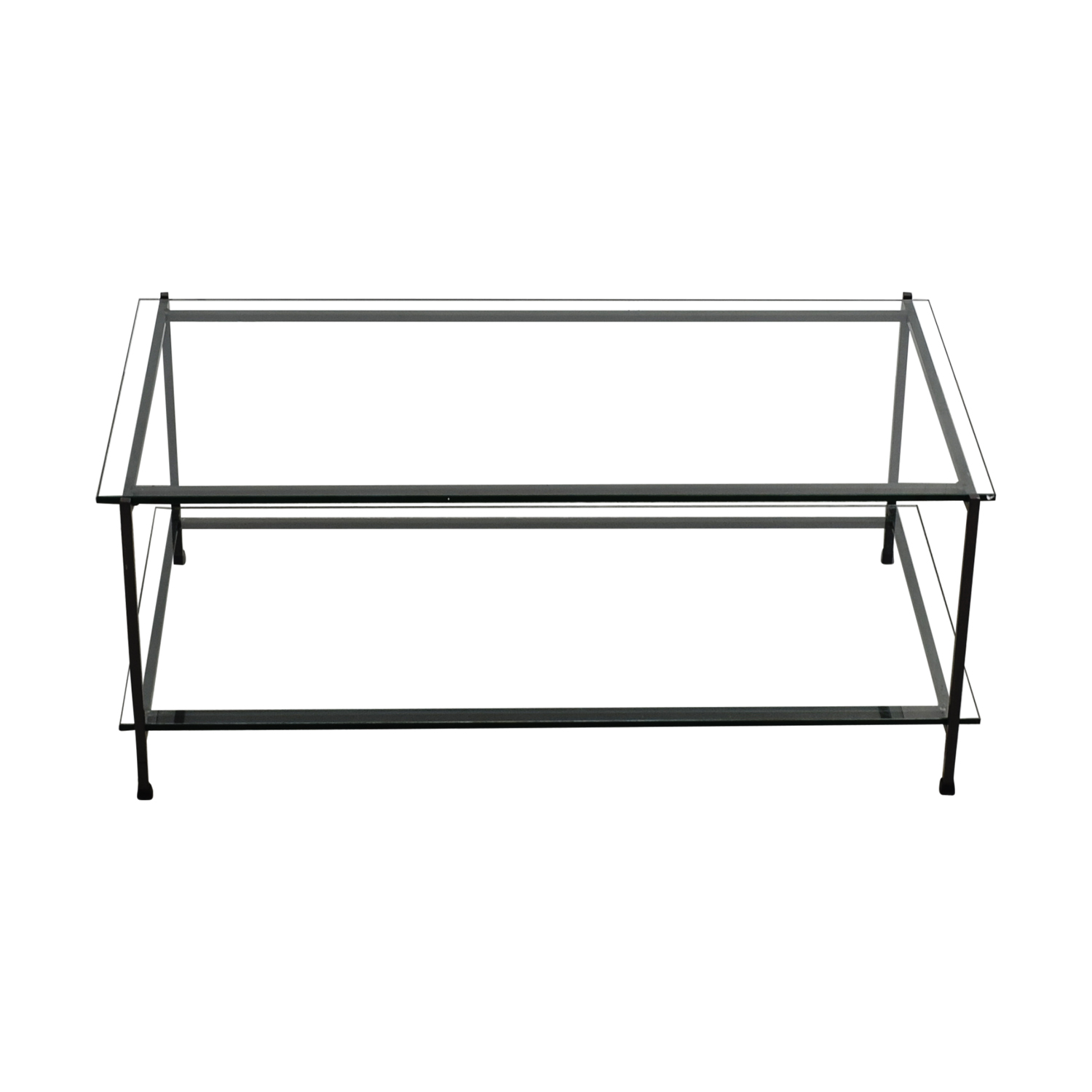 Rectangular Glass and Metal Coffee Table for sale