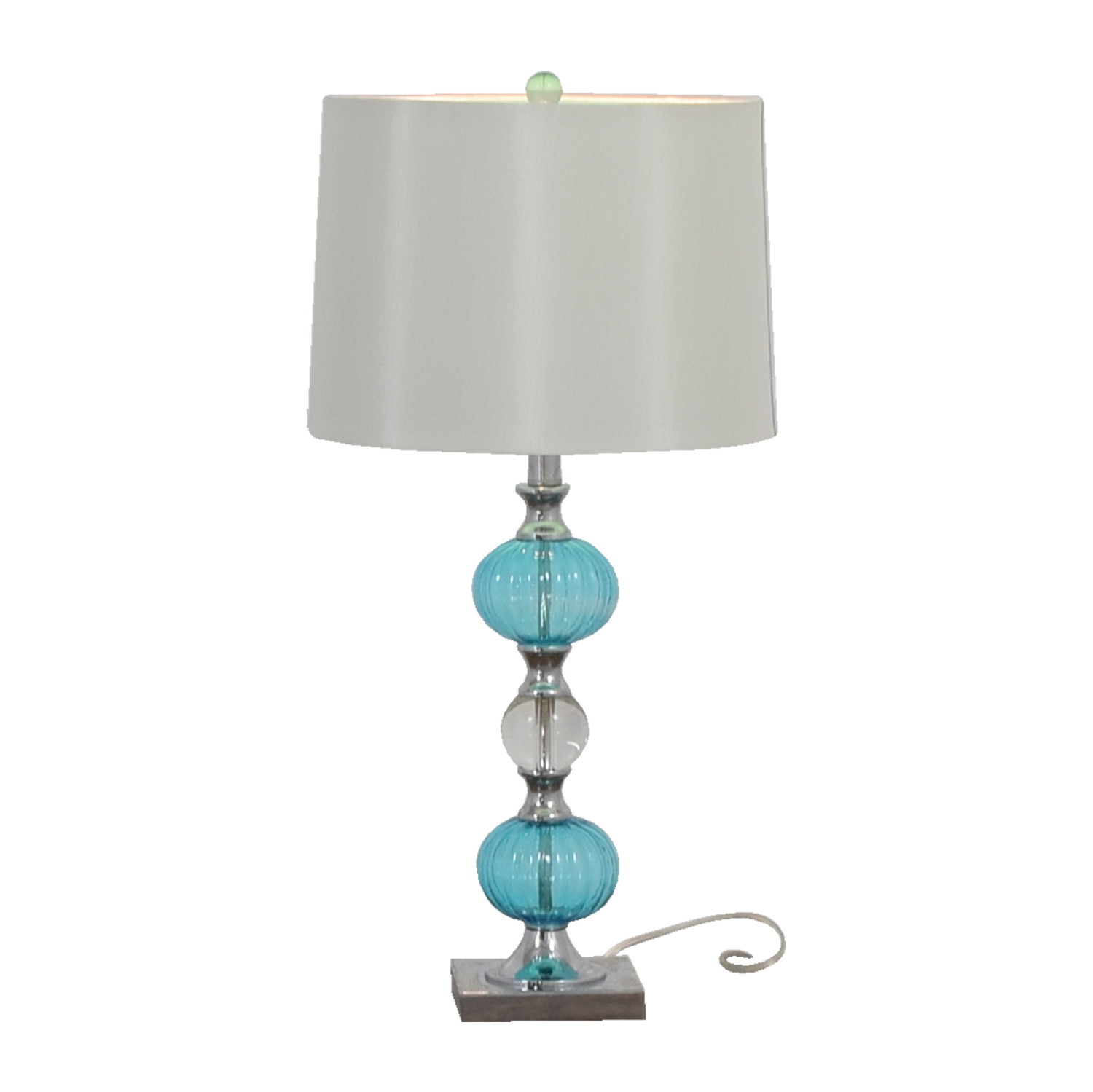 Turquoise Glass Side Table Lamp