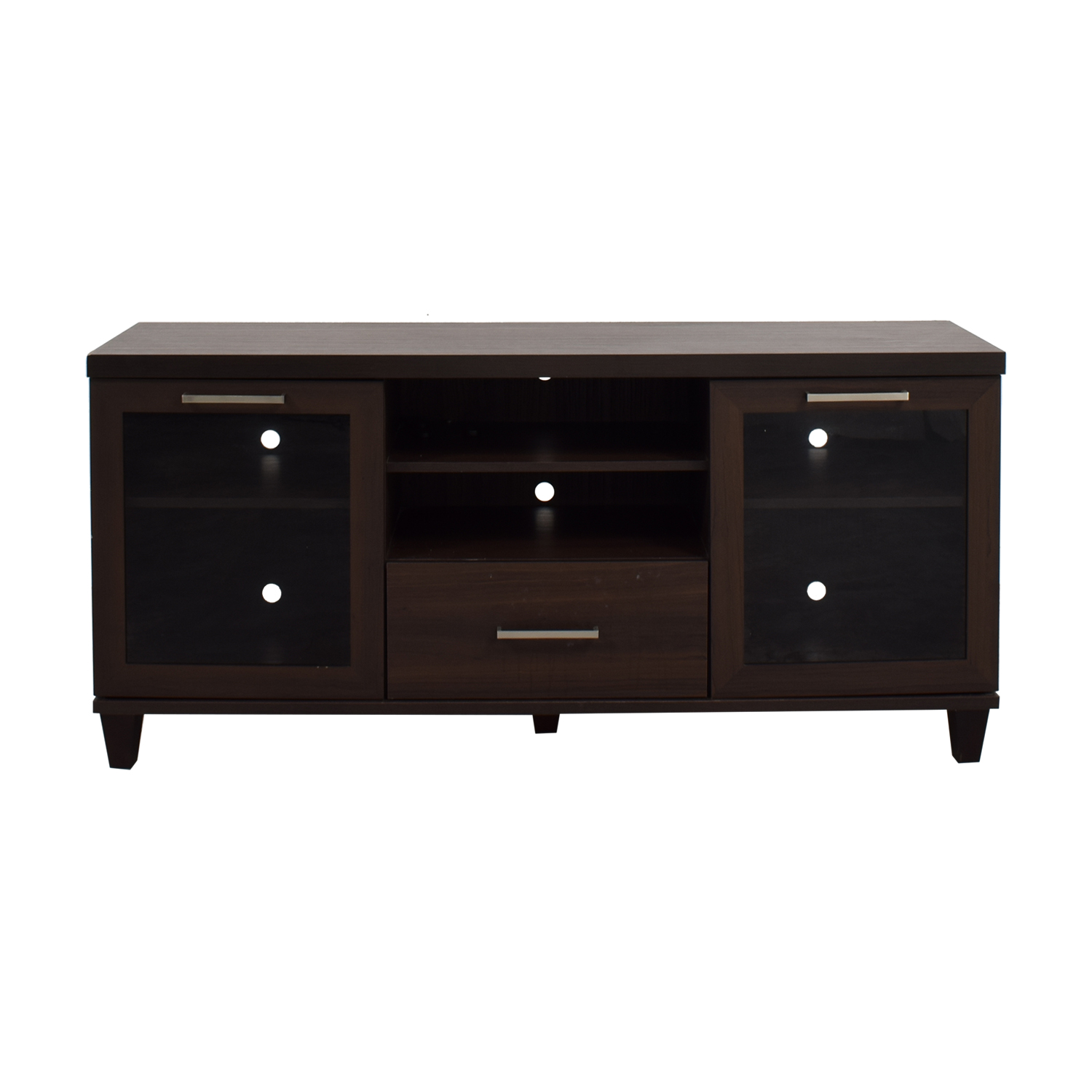 shop Single Drawer Wood TV Stand with Side Cabinets Media Units