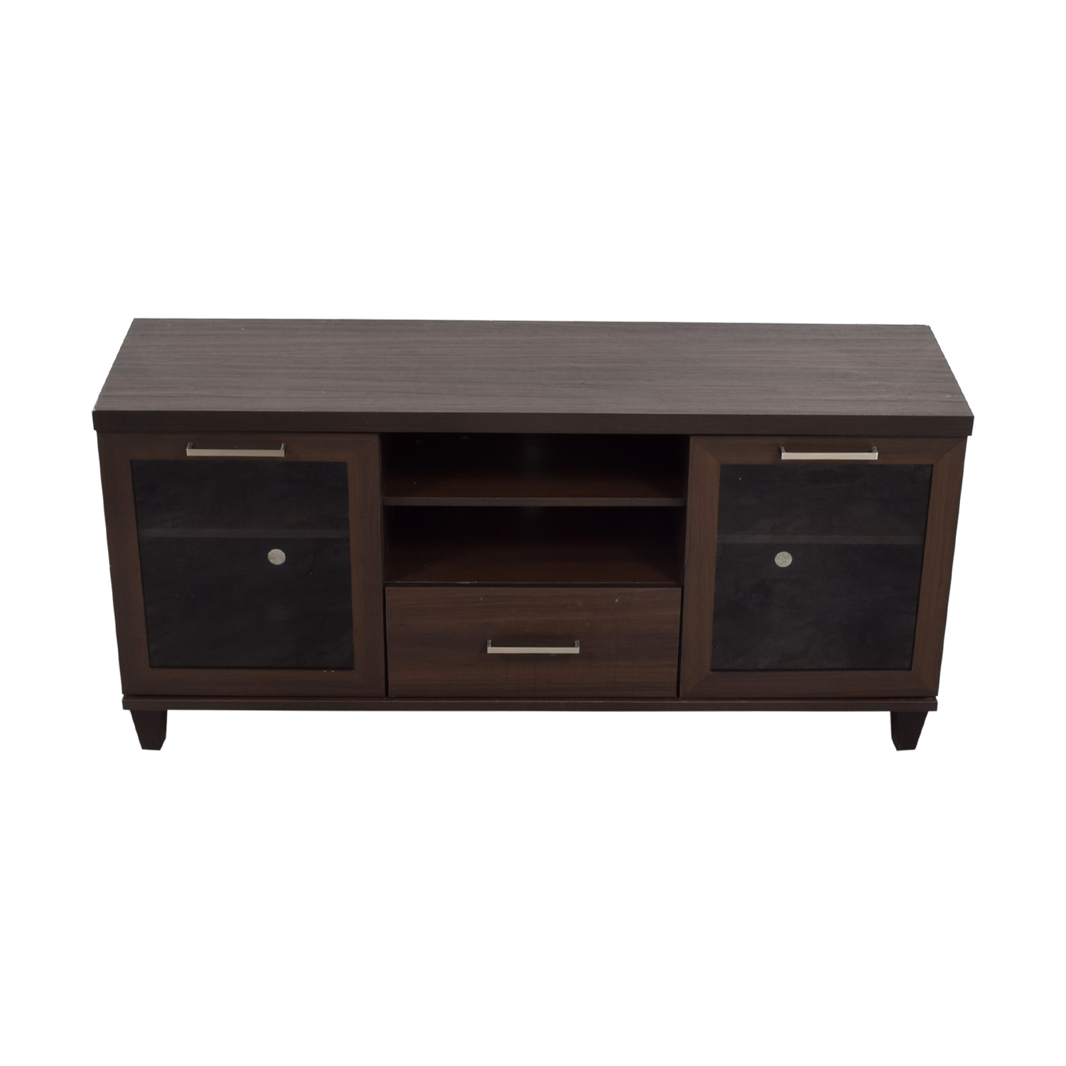 Single Drawer Wood TV Stand with Side Cabinets brown