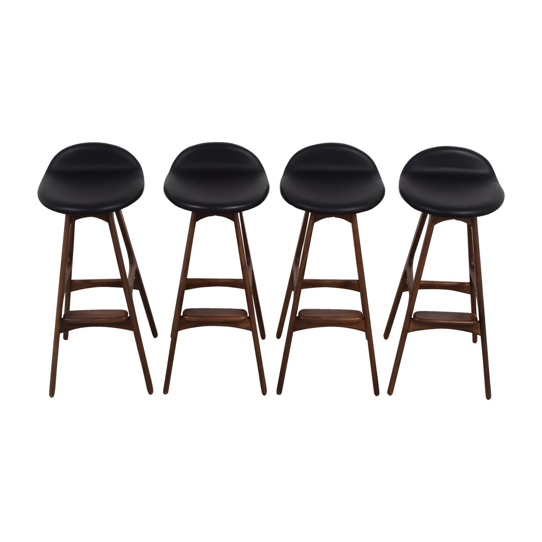 Erik Buch Walnut and Leather Bar Stools discount