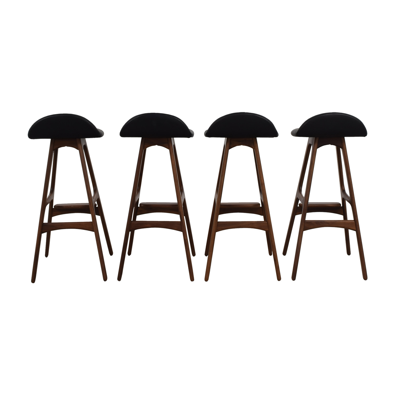 Erik Buch Walnut and Leather Bar Stools / Stools