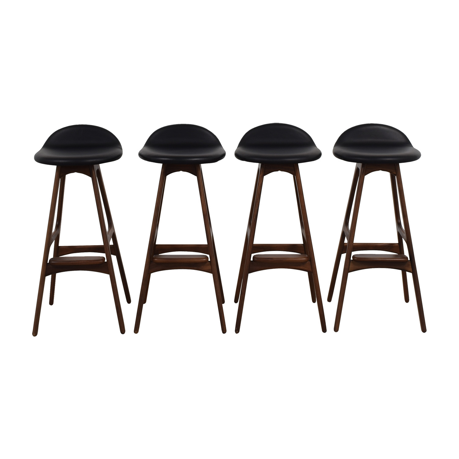 Erik Buch Erik Buch Walnut and Leather Bar Stools discount