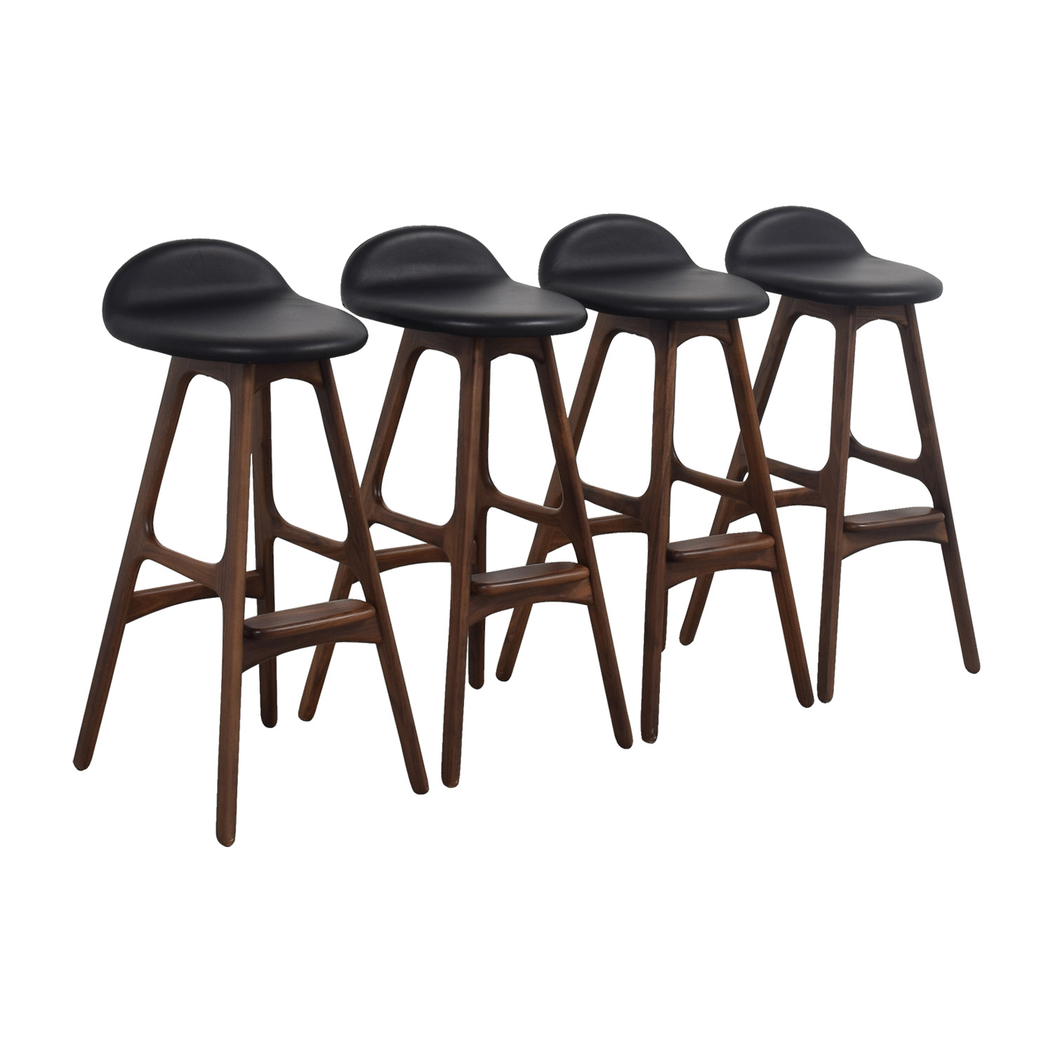 buy Erik Buch Walnut and Leather Bar Stools Chairs