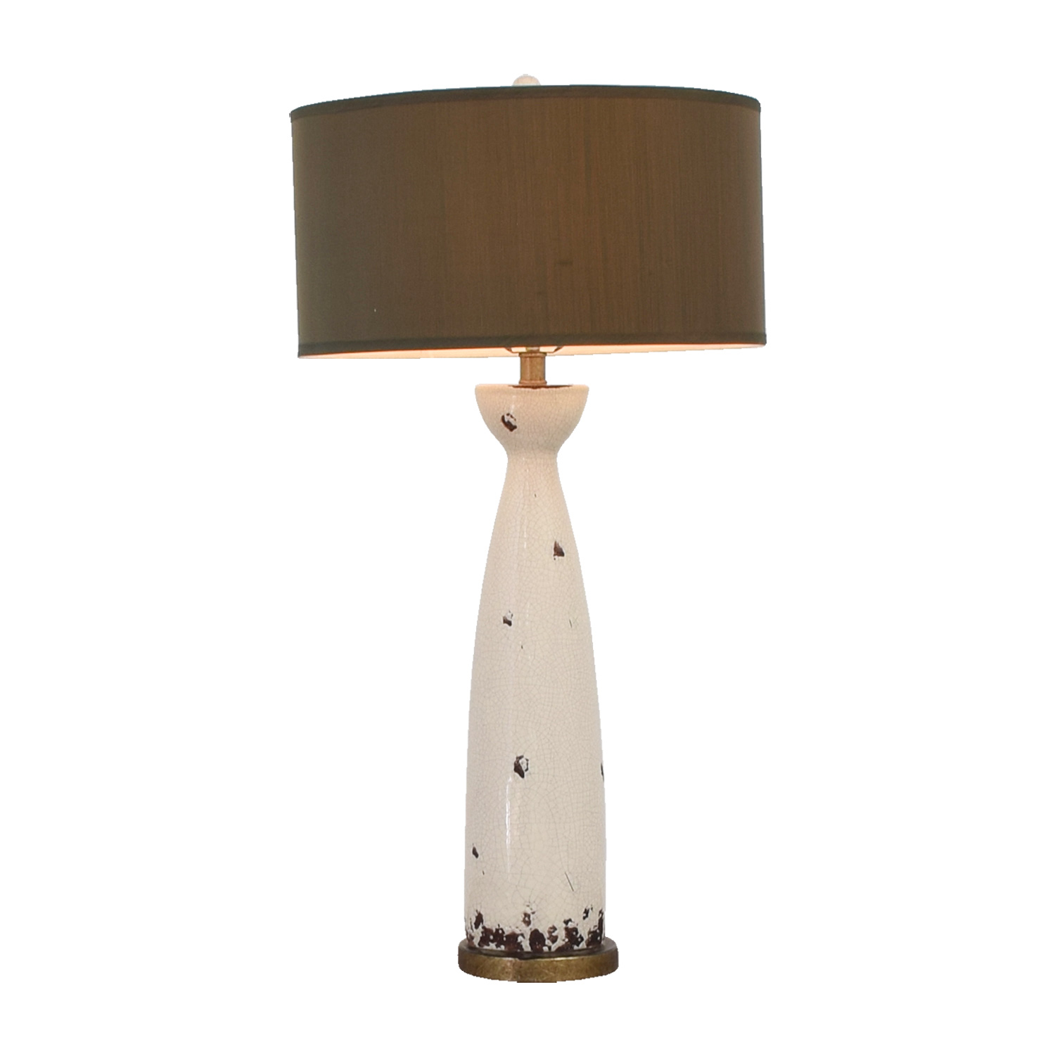 Eggshell Ceramic and Green Silk Table Lamp