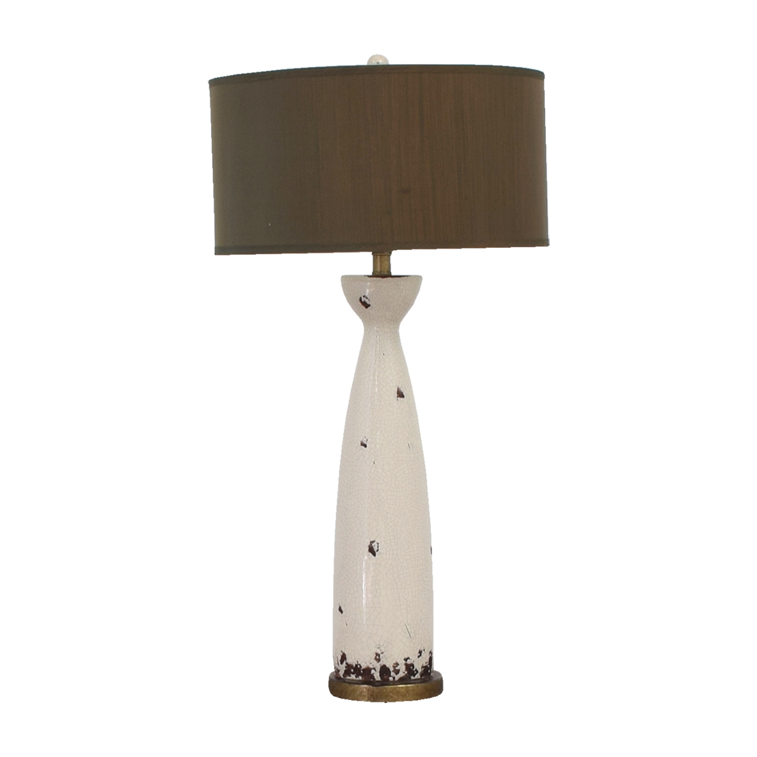 Eggshell Ceramic and Green Silk Table Lamp discount
