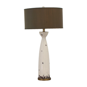 Eggshell Ceramic and Green Silk Table Lamp dimensions