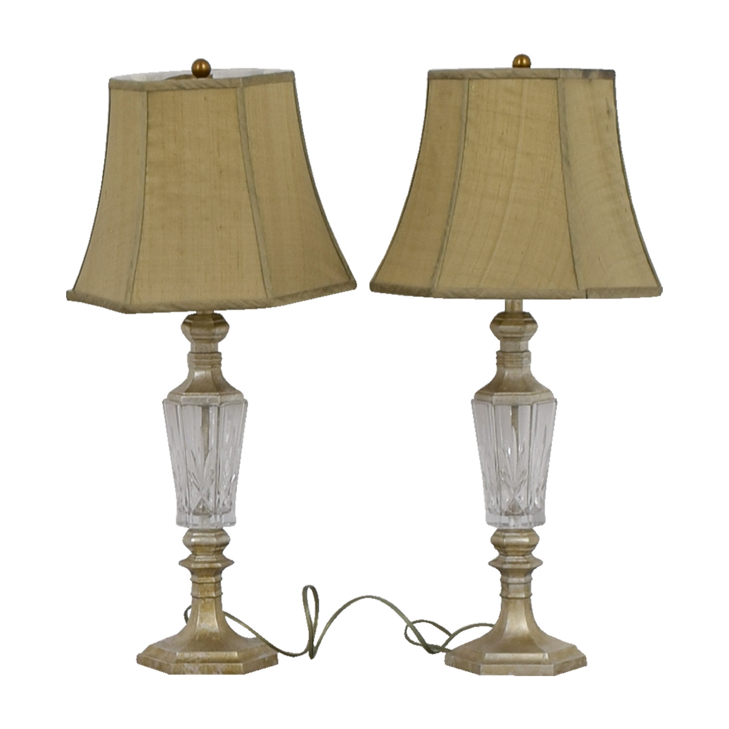 Crystal Lamps with Grey Silk Dupioni Shades sale