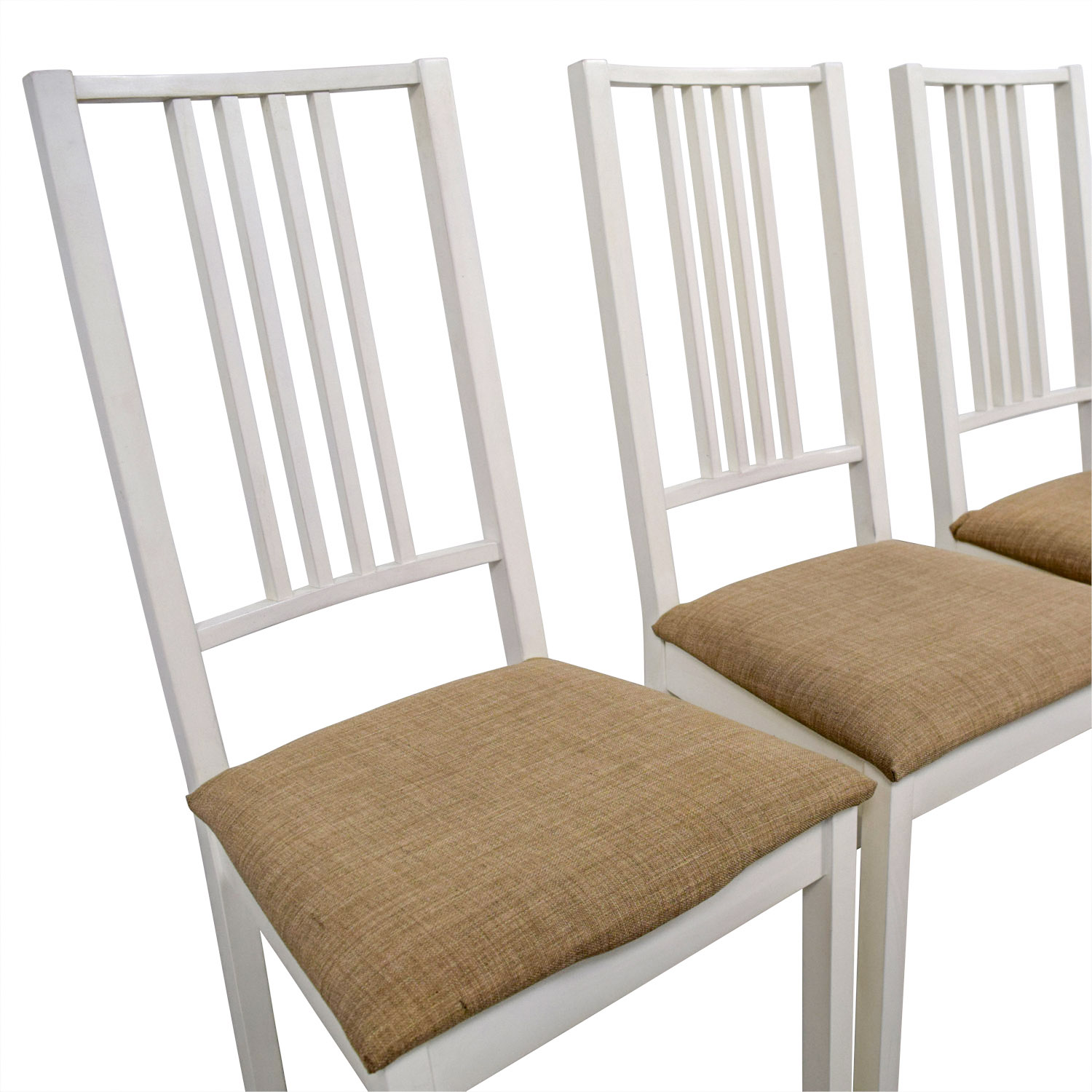 82 Off Ikea Ikea White With Tan Upholstered Dining Chairs Chairs