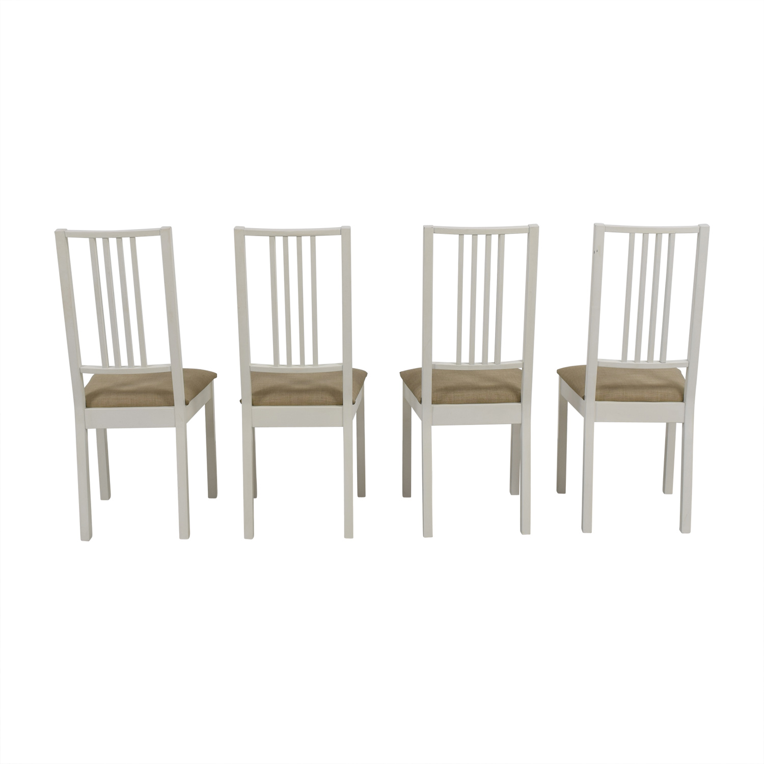 Ikea White With Tan Upholstered Dining Chairs