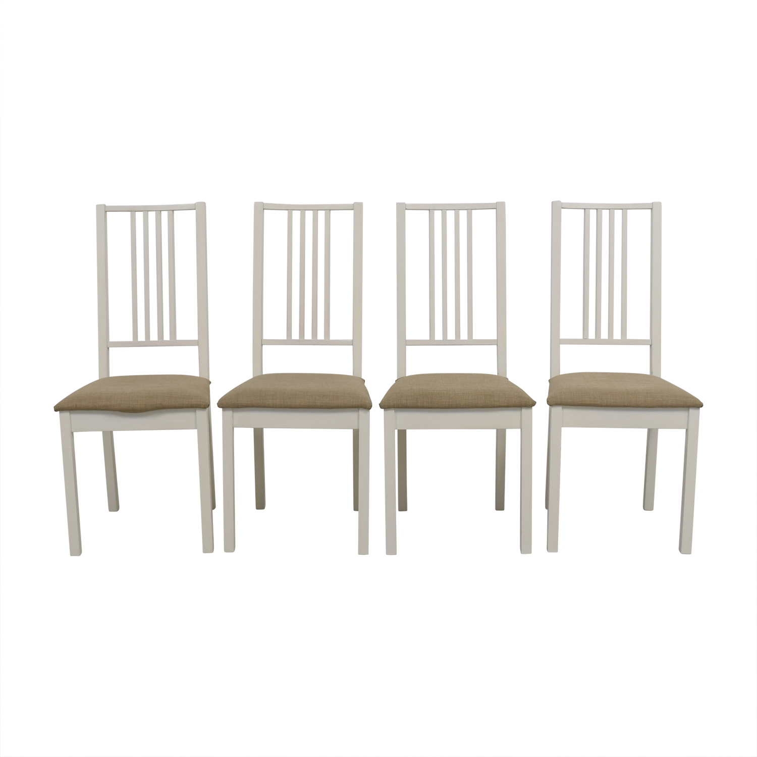 Ikea White With Tan Upholstered Dining Chairs Coupon