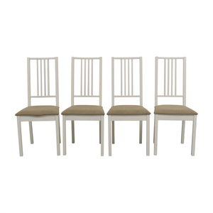 IKEA IKEA White with Tan Upholstered Dining Chairs on sale