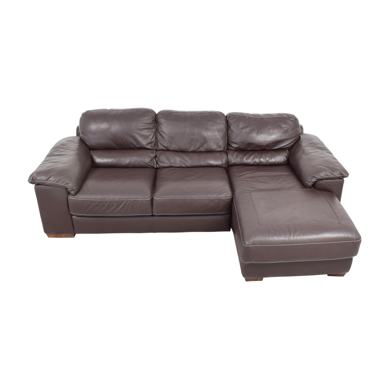 buy Raymour & Flanagan Cindy Crawford Brown Italian Leather Chaise Sectional Raymour & Flanagan