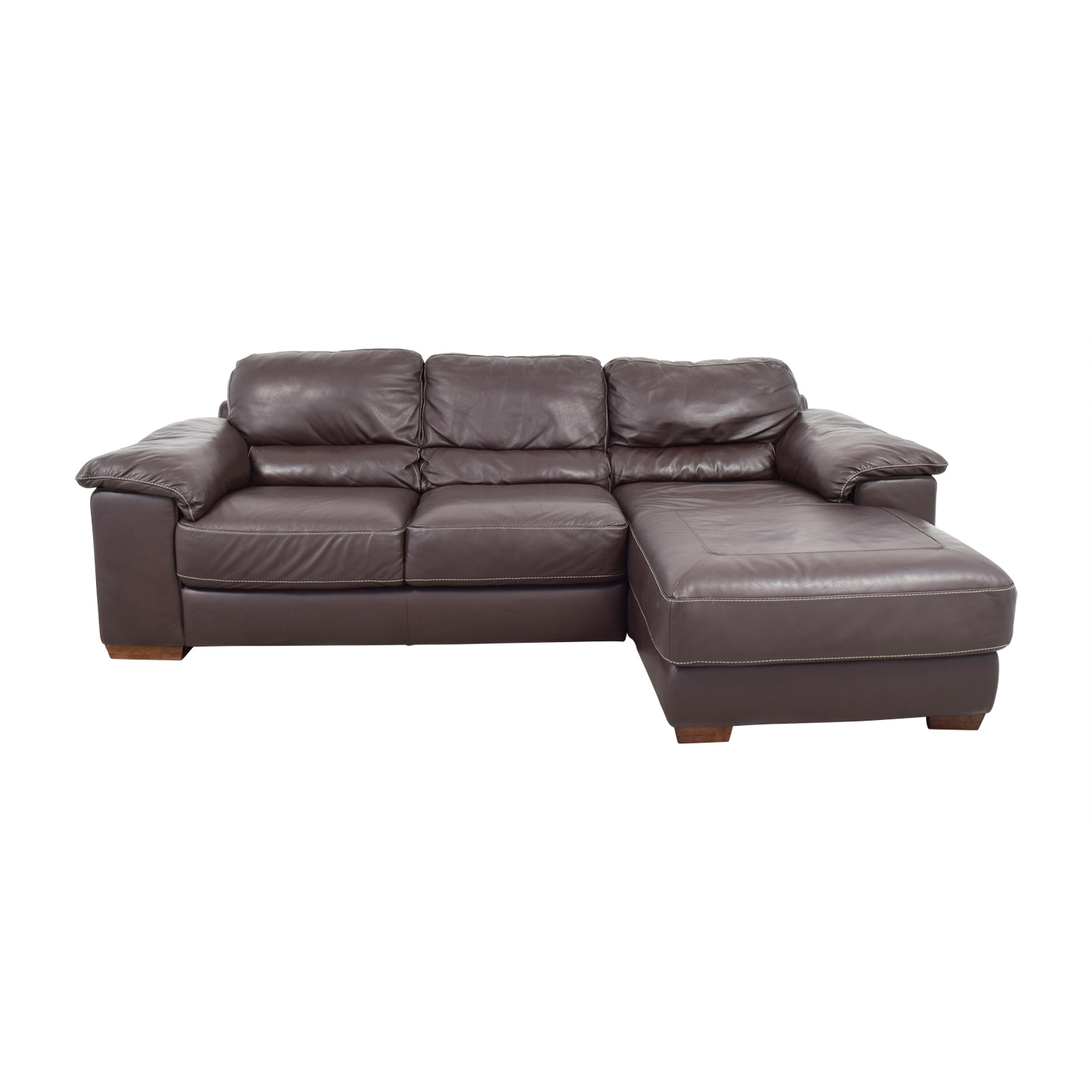 shop Raymour & Flanagan Raymour & Flanagan Cindy Crawford Brown Italian Leather Chaise Sectional online