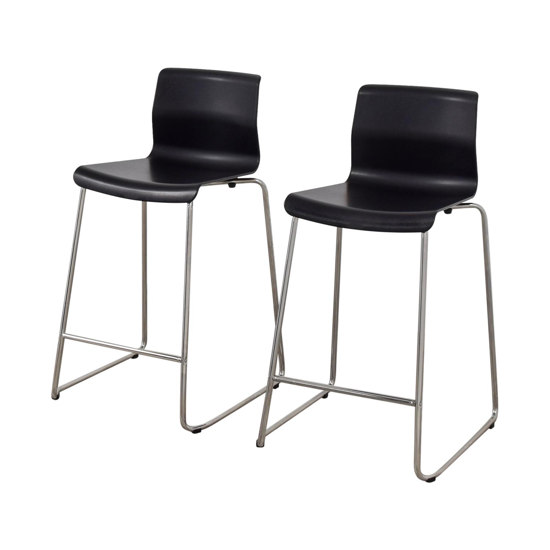 81 Off Ikea Ikea Black And Metal Bar Stools Chairs