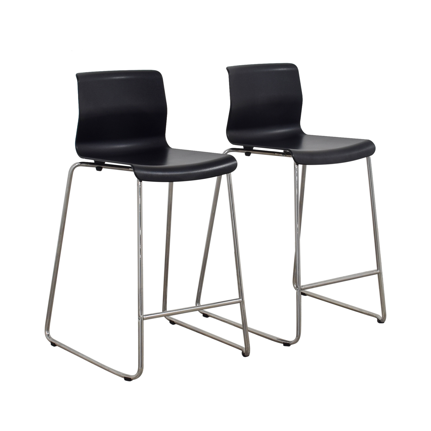 75 off ikea ikea black and metal bar stools chairs for Bar stools ikea
