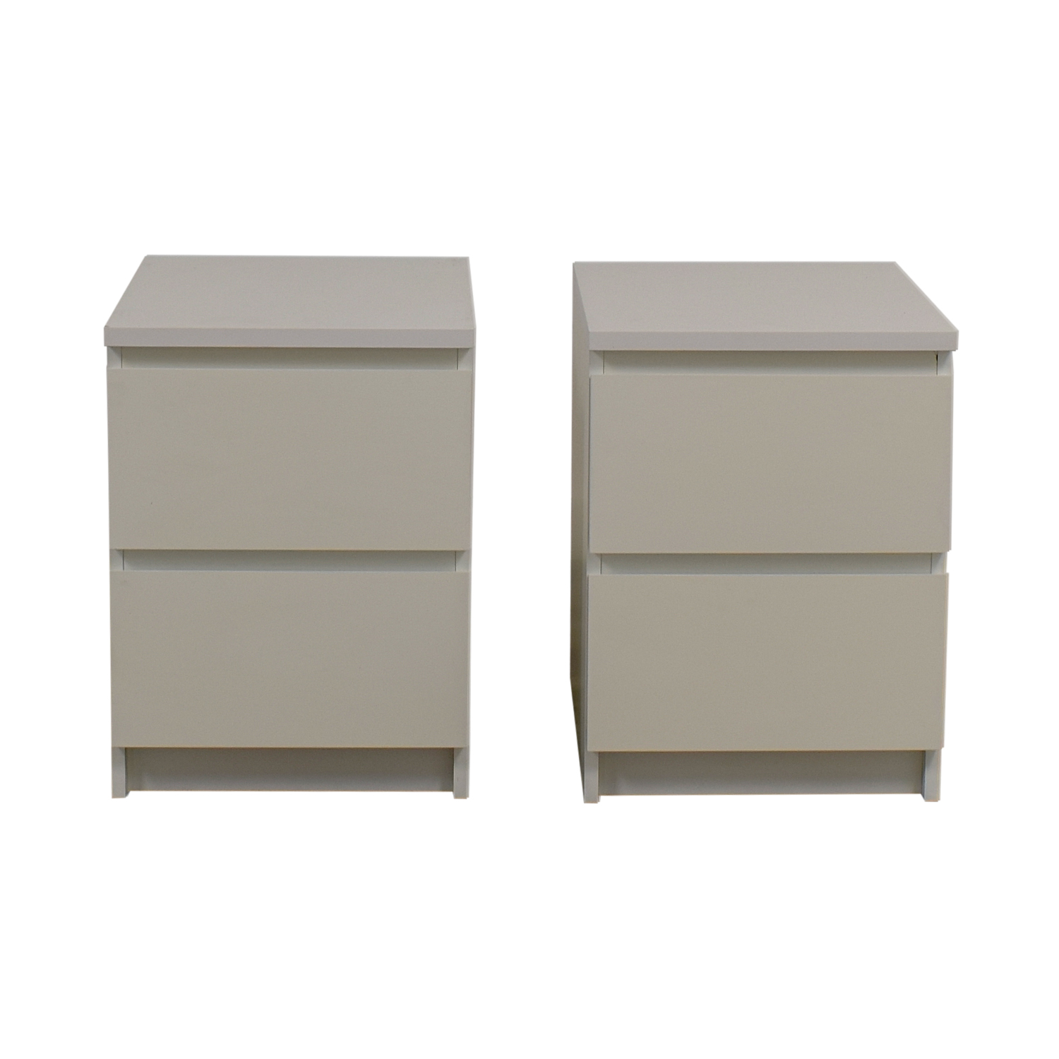Ikea Malm Two Drawer White End Tables