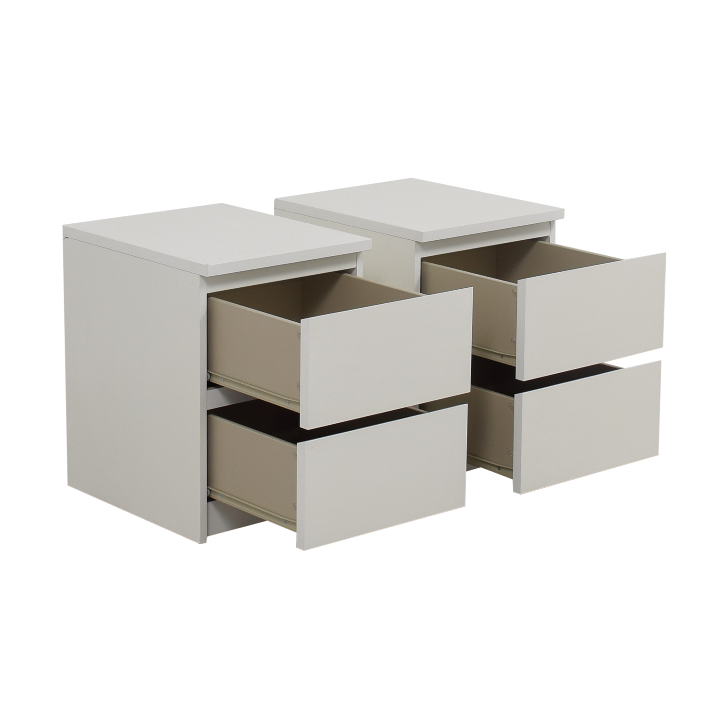 IKEA IKEA Malm Two-Drawer White End Tables / Tables