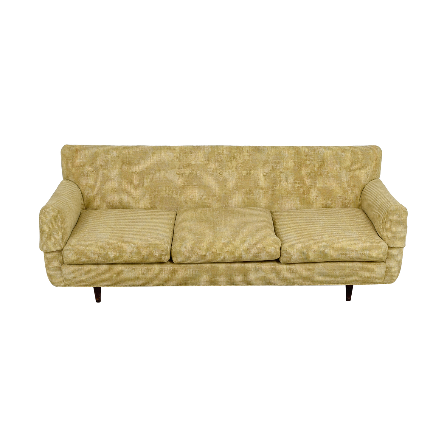 Custom Tan Mid Century Three Cushion Sofa Sofas
