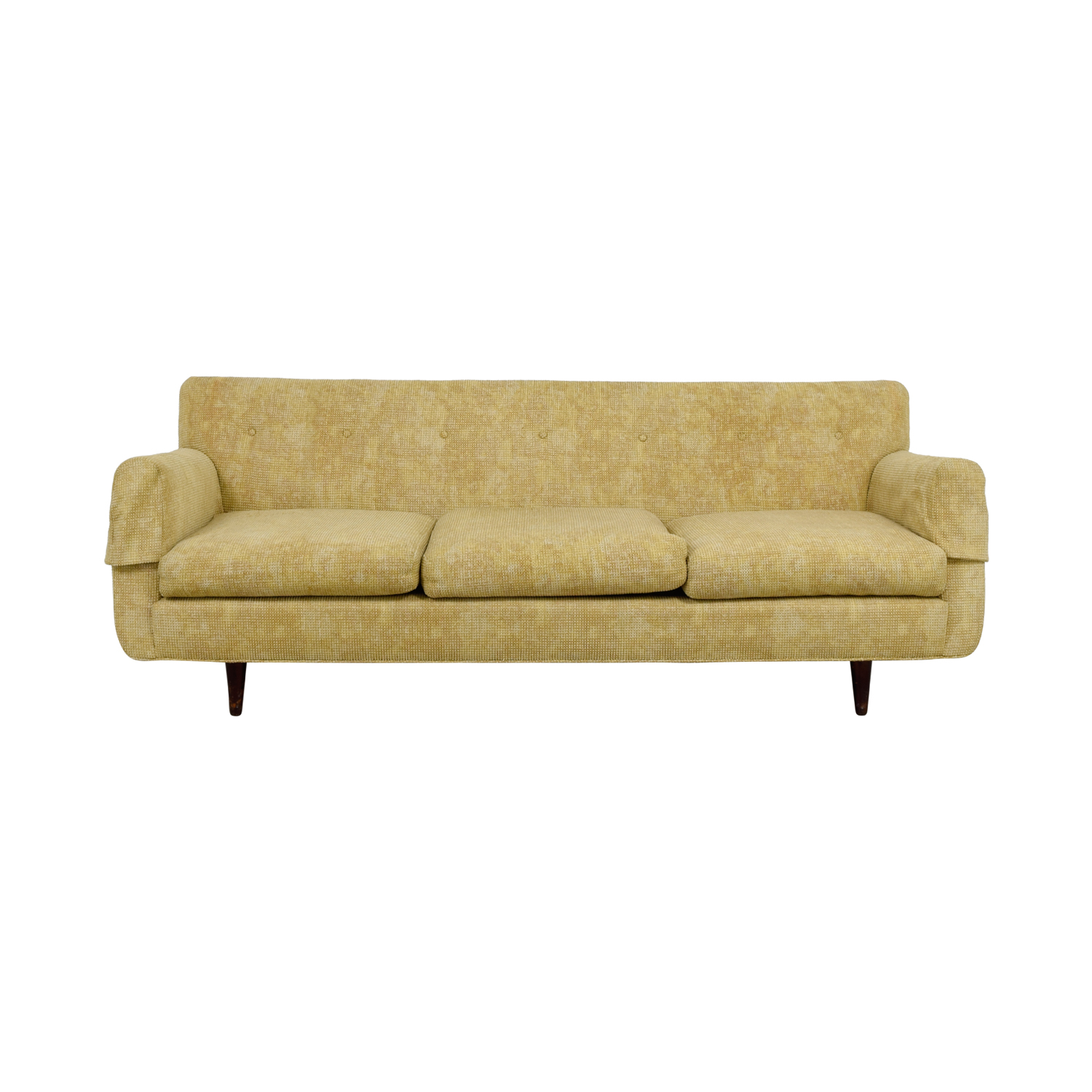 Custom Tan Mid Century Three Cushion Sofa for sale