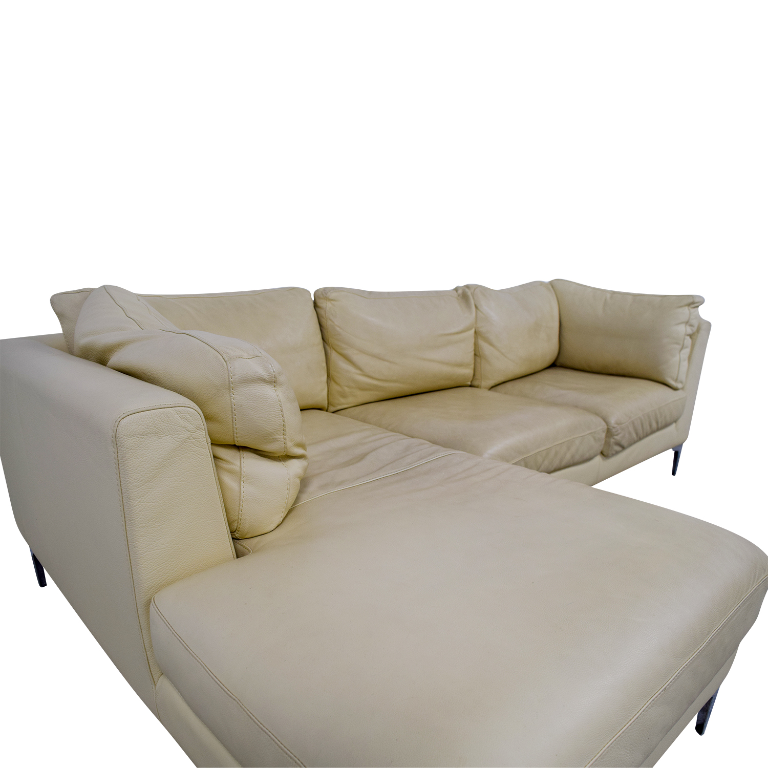 79% OFF   Design Within Reach Design Within Reach Cream Leather Chaise  Sectional / Sofas