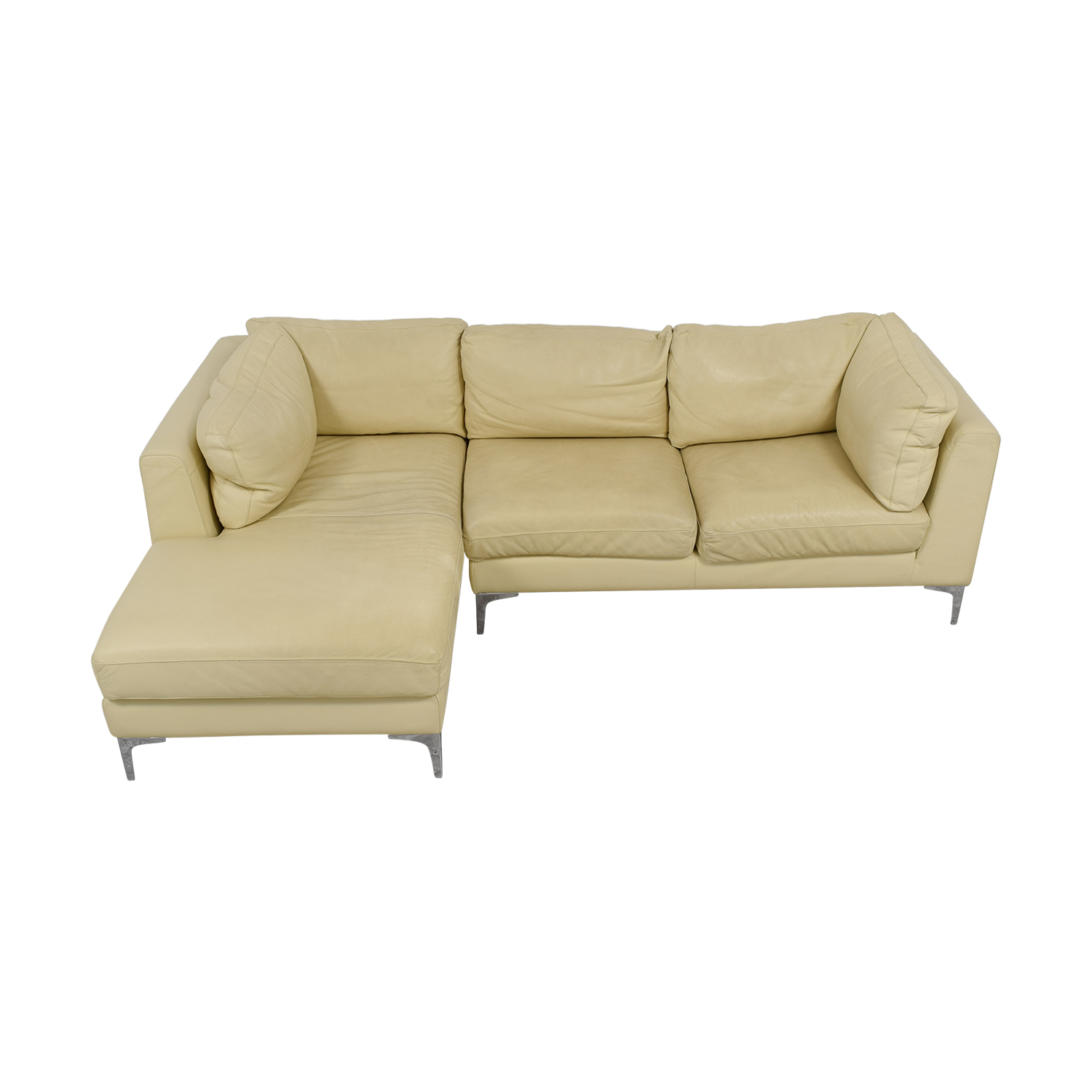 Design Within Reach Design Within Reach Cream Leather Chaise Sectional on sale