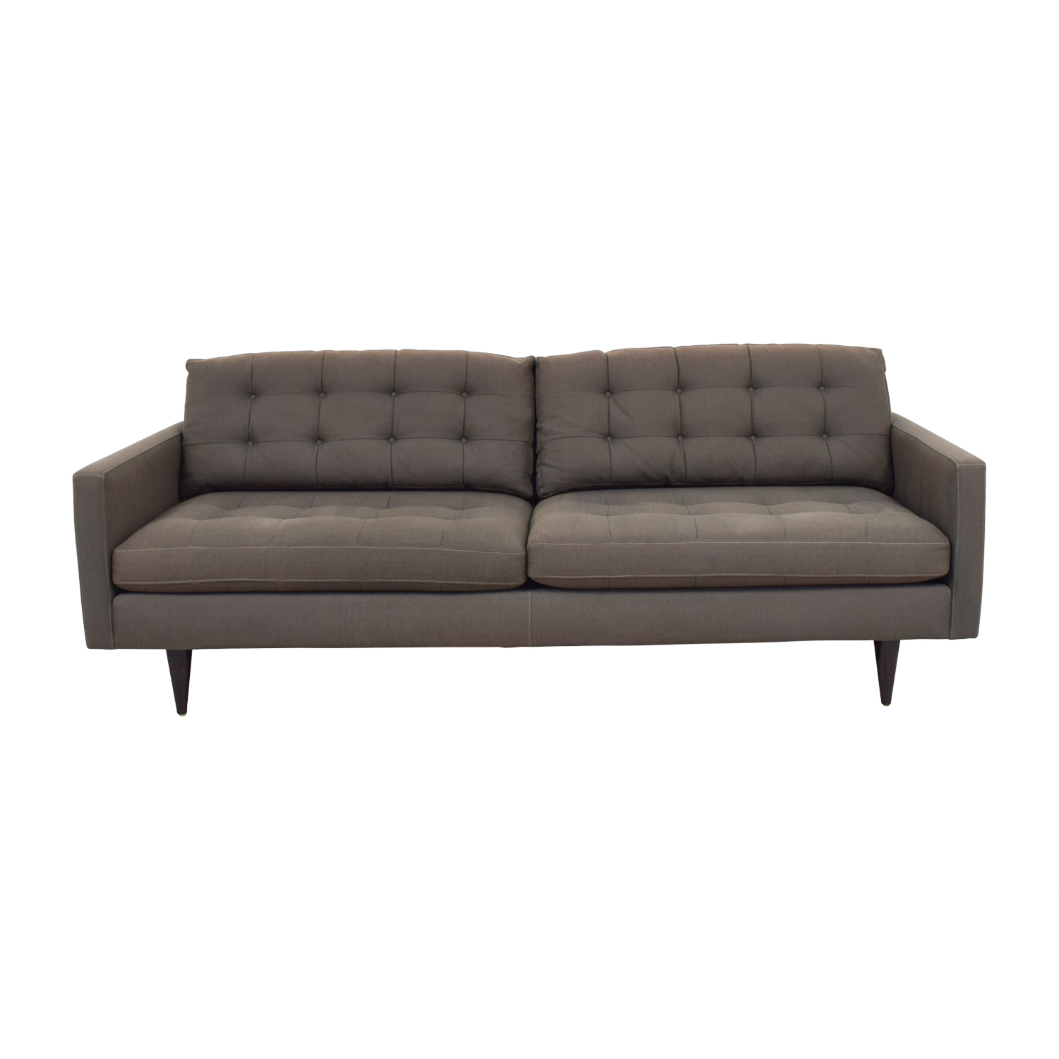 shop Crate & Barrel Mid Century Petrie Grey Tufted Sofa Crate & Barrel Classic Sofas
