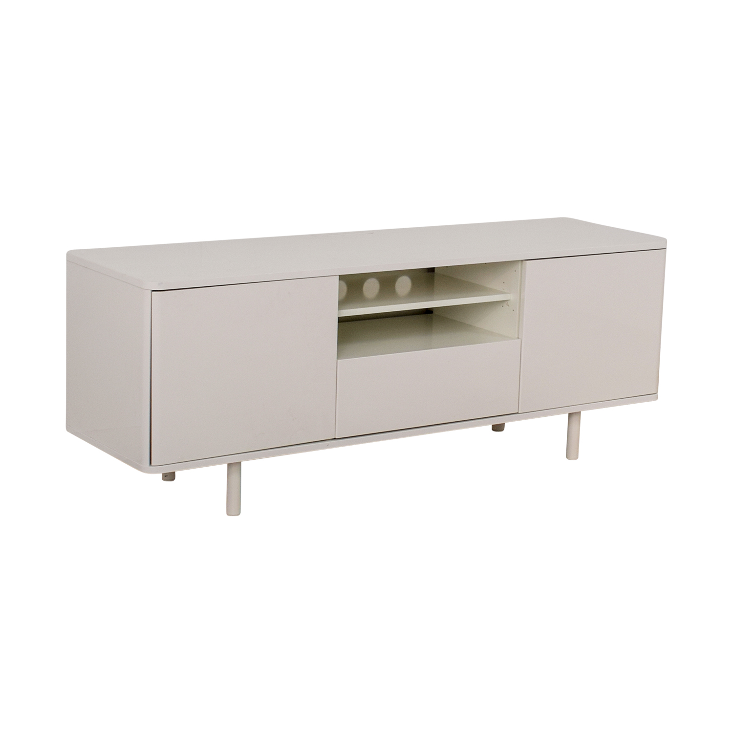 45 off ikea ikea mostorp high gloss white media unit storage. Black Bedroom Furniture Sets. Home Design Ideas