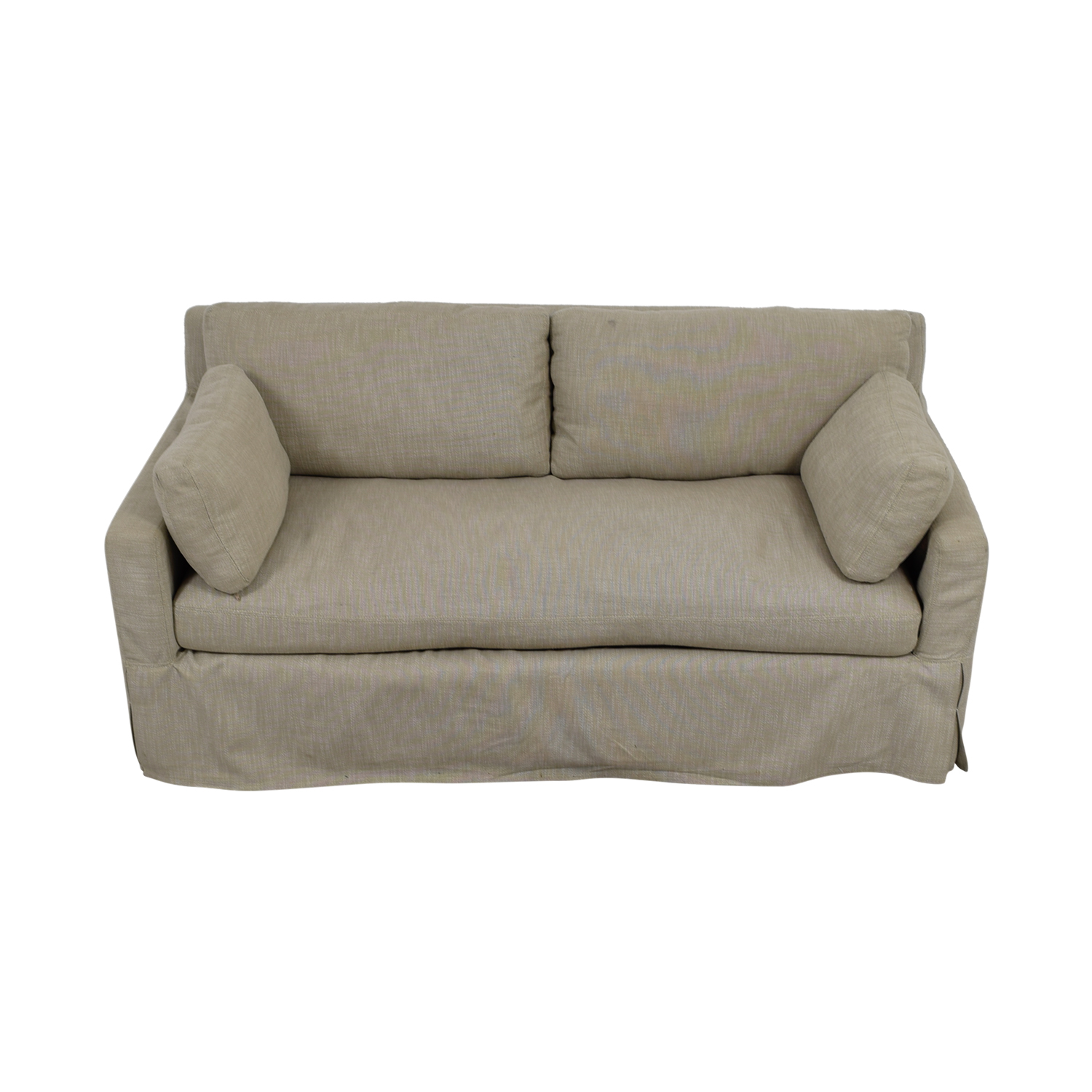 Restoration Hardware Belgian Beige Track Arm Slipcovered Sofa Restoration Hardware